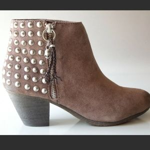 ASH Nevada Brown Suede Studs & Skull Ankle Boots